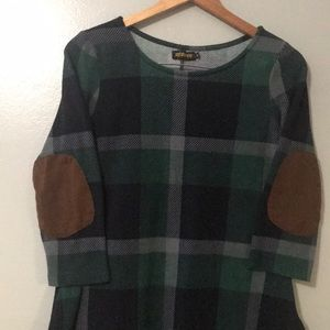 Vintage Style Reborn Plaid Tunic with Patch Elbows